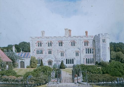 Photograph of David Yaxley's painting 'Mannington Hall'.