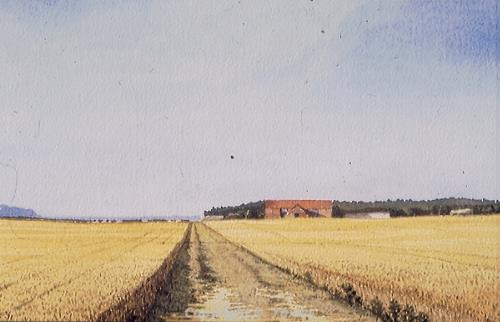 Photograph of David Yaxley's painting 'North Creake'.