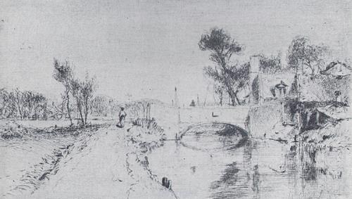 Photograph of Edward Daniell's drawing 'Millgate Bridge, Aylsham'.