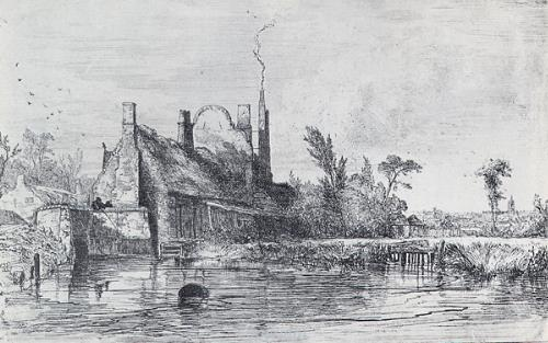 Photograph of Edward Daniell's drawing 'Bure Bridge, Aylsham'.