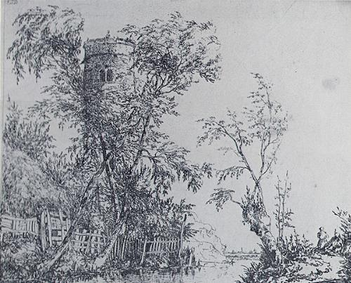 Photograph of Edward Daniell's etching 'Church Tower and Trees'.