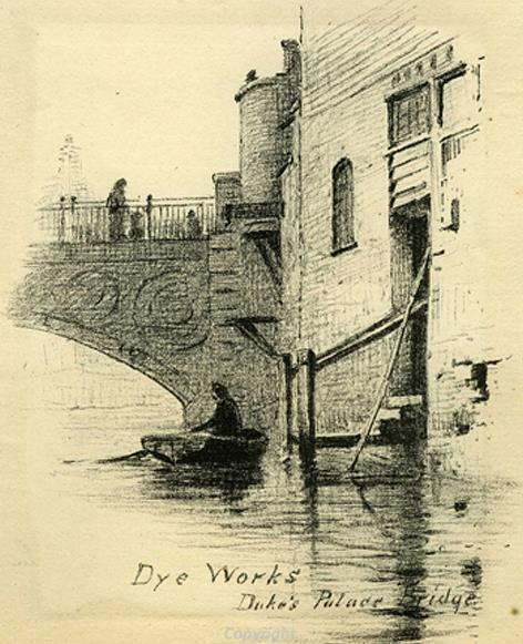 Photograph of James Stark's print of Duke Street dyeworks.