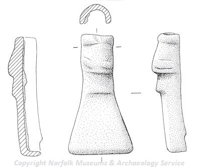 Drawing of a Late Saxon stirrup mount from Riddlesworth.