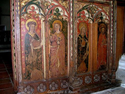 Photograph of the rood screen in St John the Baptist's Church, Trimingham. Photograph from www.norfolkchurches.co.uk
