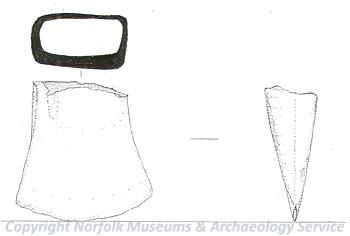 Drawing of a fragment of a Late Bronze Age socketed axehead from Wymondham.