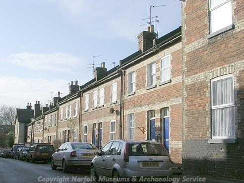 Photograph of a street in the planned railway town of Melton Constable.
