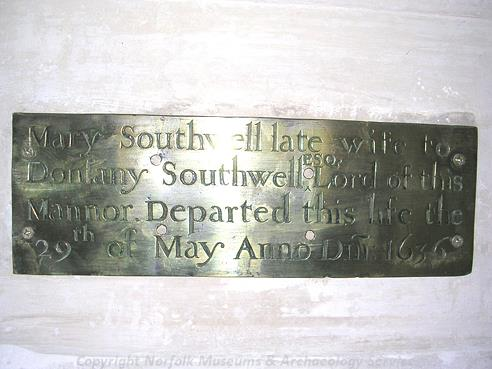 Photograph of a brass inside St Margaret's Church, Morton on the Hill.