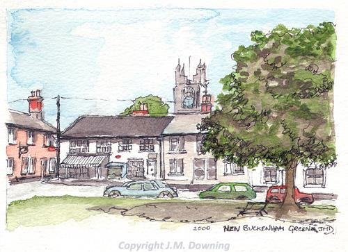 Photograph of J.M. Downing's watercolour of Lovell's Stores, Market Place and St Martin's Church, New Buckenham.