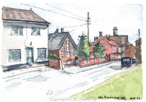 Photograph of J.M. Downing's watercolour of Corner Cottage and Crawfords, Market Place, New Buckenham.