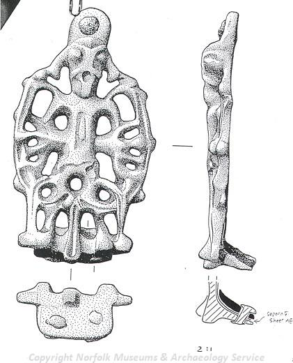 Drawing of a Late Saxon stirrup strap mount from Thorpe St Andrew.