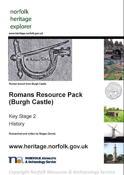 Photograph of the front cover of the Romans Resource Pack (Burgh Castle).