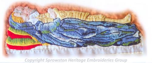 Detail of panel 3 of the Sprowston Heritage Embroideries Group embroidery.