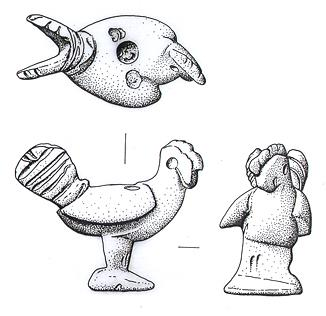 Drawing of a Roman model chicken.