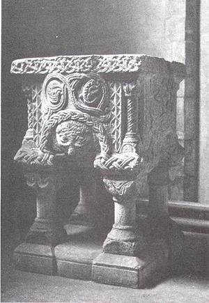 Photograph of the Norman font in St Mary's Church, Shernbourne.