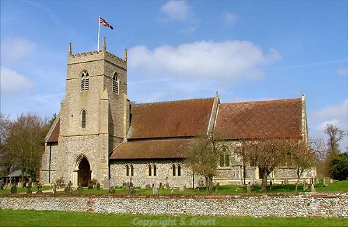 Photograph of St Mary and All Saints' Church, Sculthorpe. Photograph from www.norfolkchurches.co.uk