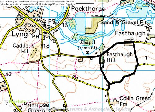 A map of the Lyng Heritage Trail.