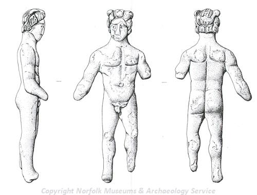 Drawing of a Roman figurine from Tuttington.