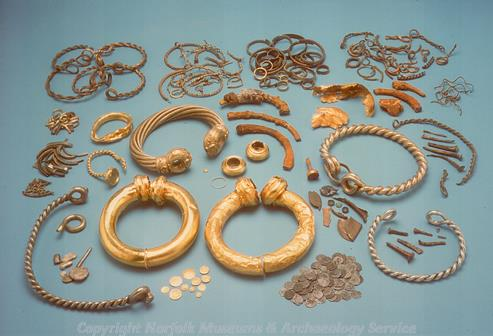 Photograph of one of the torc hoards found at Snettisham.