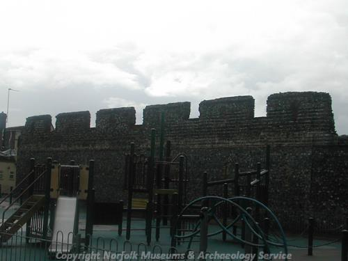 Photograph of the medieval town wall, adjacent to the Time and Tide museum, Great Yarmouth.