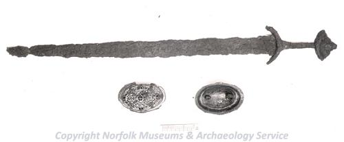 Photograph of the objects found in a Viking grave in 1867 in Lynford.