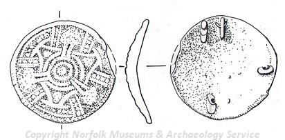 Drawing of an imported 10th century Viking disc brooch from Keswick.