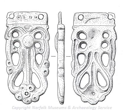 Drawing of a Saxon strap end with a fan-shaped motif from Sporle.