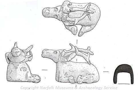 Drawing of a Roman deer figurine from Swanton Morley.