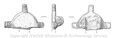 Drawing of part of an Early Saxon small-long brooch from Swainsthorpe.