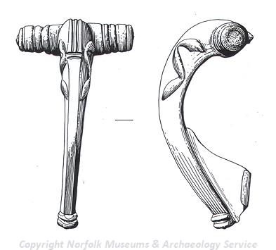Drawing of a Roman brooch from Stanfield.
