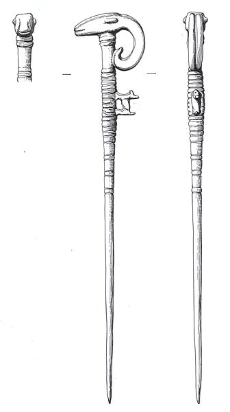 Drawing of a Late Bronze Age or Iron Age ram's head pin from Swaffham.
