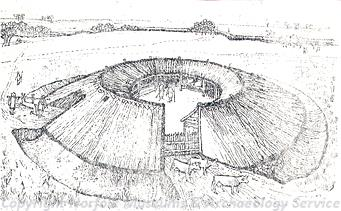 Drawing of a reconstruction of the Iron Age site at Micklemoor Hill.