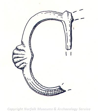 Drawing of a medieval buckle found in Terrington St John.