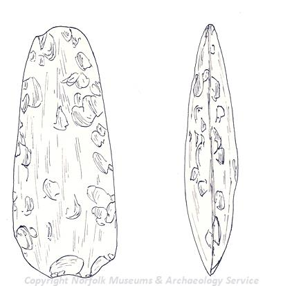 Drawing of a Neolithic axehead from Thurning.