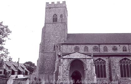Photograph of the tower of All Saints' Church, Upper Sheringham.