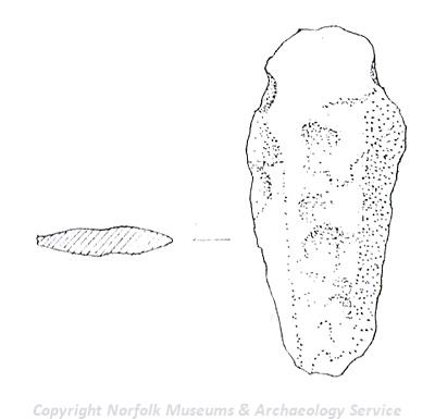 Drawing of a Bronze Age knife from Upper Sheringham.