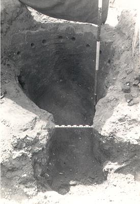 Photograph of an excavated Roman kiln in Upper Sheringham.
