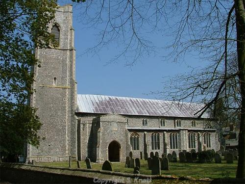Photograph of All Saints' Church, Scottow. Photograph from www.norfolkchurches.co.uk