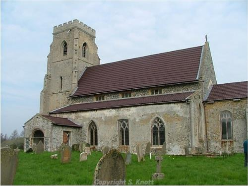 A photograph of St Andrew's Church, Tottington. Photograph from www.norfolkchurches.co.uk