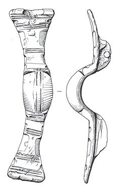 Drawing of an Early Saxon equal-armed brooch from Thompson.