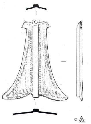 Drawing of an Early Saxon pendant from Thompson.