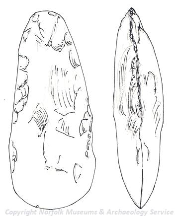 Drawing of a Neolithic flint handaxe from Thompson.