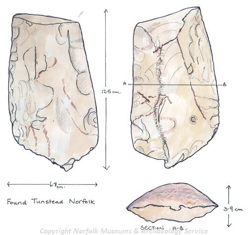Drawing of a Neolithic flint handaxe from Tunstead.