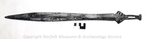 Photograph of a Bronze Age sword from Stoke Ferry.