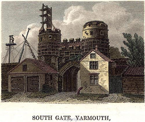 Great Yarmouth, South Gate engraved from a drawing by Wm. Brand early 1800s.