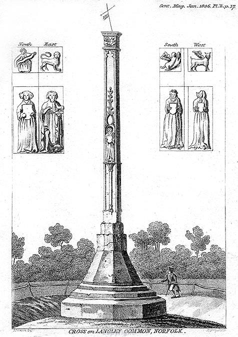 Etching of the cross on Langley Common, from the Gentleman's Magazine Jan 1806.