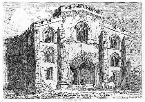 Etching of the south gatehouse of the Priory of the Holy Trinity, SS Mary and Mary Magdalen by J.S. Cotman.