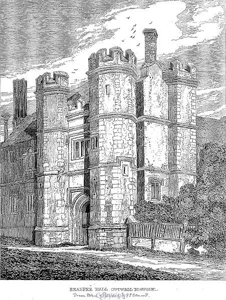 Etching of Beaupre Hall by J.S. Cotman, early 1800s.
