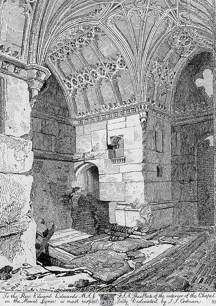 Engraving of the interior of Red Mount Chapel, King's Lynn by J.S. Cotman, 1812.