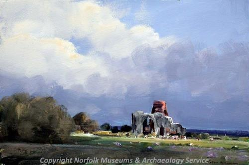 Photograph of a painting of St Benet's Abbey by P. Burman.