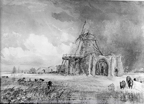 Photograph of a drawing of St Benet's Abbey by T. Lound.